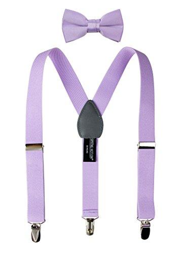 Spring Notion Boys' Suspenders and Solid Color Bowtie Set Lilac Medium