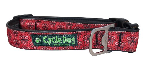 Cycle Dog Bottle Opener Recycled Dog Collar, Red Tri, Style, Large