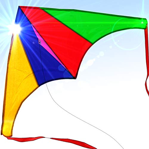 Easy to Fly Large Delta Nylon Kite for Kids and Adults Great for Beach Trip and Outdoor Activities Perfect for Beginners Flies High in Light Breeze Flying String Line Included Big Flyer Childrens Toys