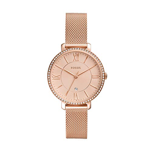 Fossil Women's Jacqueline Quartz Mesh Three-Hand Watch, Color: Rose Gold Glitz Mesh (Model: ES4628)