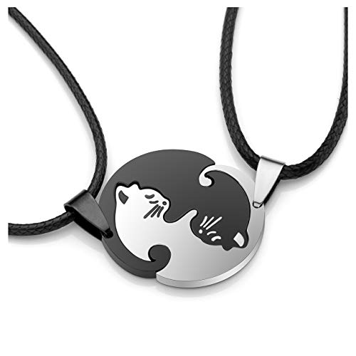 PiercingJ 2X Edelstahl Tai Chi Yin und Yang Anhänger Halskette Katze Puzzle Partner-Anhänger Freundschaftsketten mit 20
