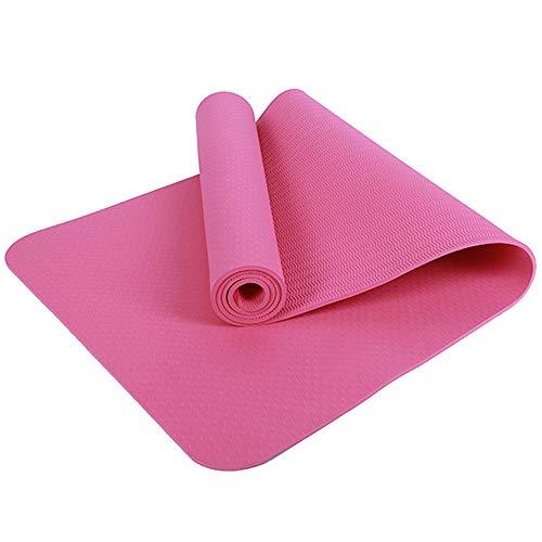 YUXIAOYU 6Mm rutschfeste Yogamatte, Matte Hause Fitness-Studio Verdickte TPE-Übungs-Sport Eine Hohe Elastizität Weichen Anti-Stretch,Rosa
