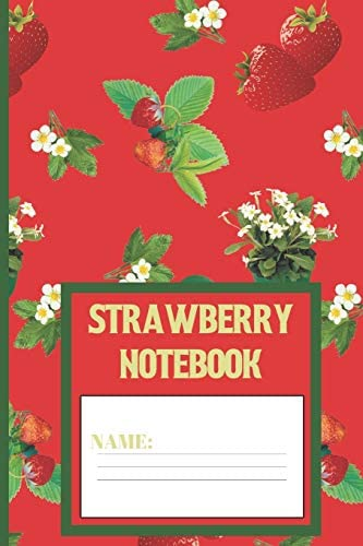Strawberry Notebook Strawberry gifts for women men kids and teens Persian Red color 6x9 blank product image