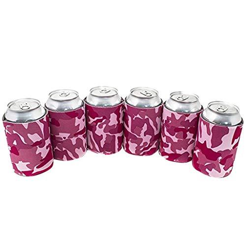 Dosenkühler Weinkühler Bierkühler, 6 Stück Dose Neopren Zusammenklappbar Isolierte Soda Flaschenhalter Party Faltbare Dosenhülle Cooler Sleeve Weinflaschenkühler Dosenkühler (Pink)
