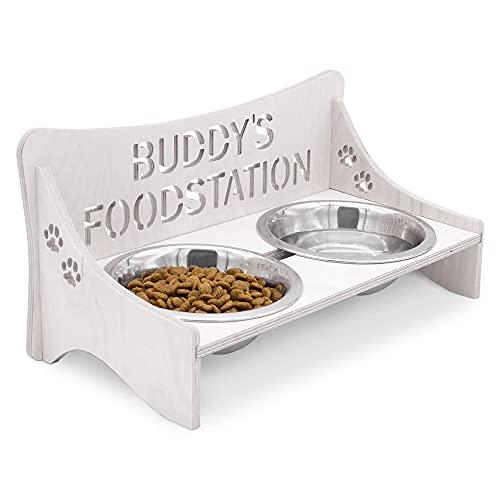 INEXTERIOR Futterbar für Hunde und Katzen – Personalisierbar – aus Holz – Schwarz, Grau, Natur – Groß und Klein – Futternapf aus Metall (Klein, Grau)