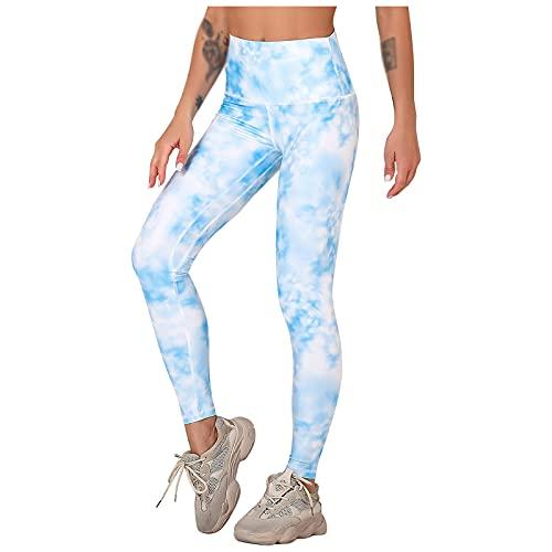 QTJY Pantalones de Yoga sin Costuras con Estampado Tie-Dye para Mujer, Ejercicios de Push-up y Mallas elásticas de Cintura Alta para Fitness EL