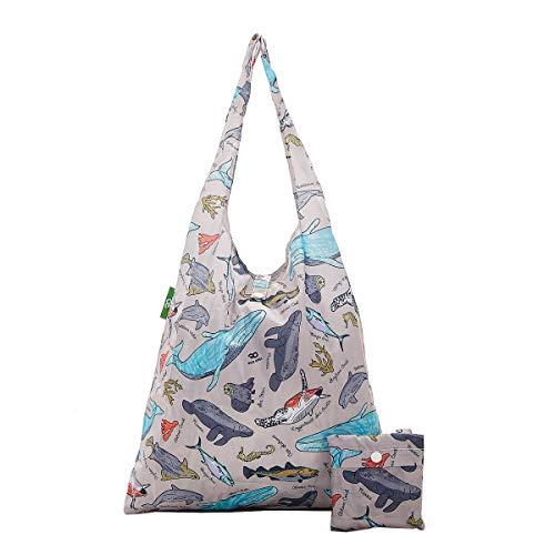 Einkaufstasche, 2020 Design, umweltfreundlich, 100 {a3d3d420cd015b441f85fef10e732c271f336cb209b2f7c17643223679e224fd} recycelter Kunststoff, faltbar, wiederverwendbar, plastik, Meerestiere - Grau, Einheitsgröße