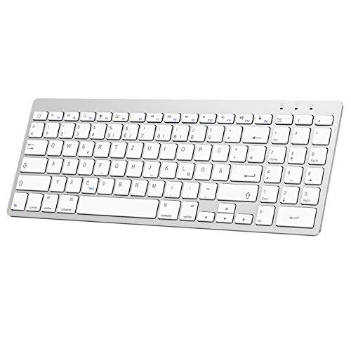 OMOTON deutsche Bluetooth Tastatur fur iPad 102 2019iPad Pro 11iPad 20182017iPad 5432iPad Air 321iPad Pro 105iPad Pro 129 IPad Mini 543QWERTZ Layout mit NummernblockSilver