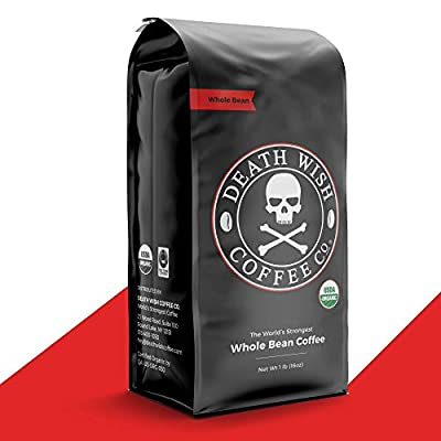 DEATH WISH COFFEE Whole Bean Coffee [16 oz.] The World's Strongest, USDA Certified Organic, Fair Trade, Arabica and Robusta Beans (1-Pack)