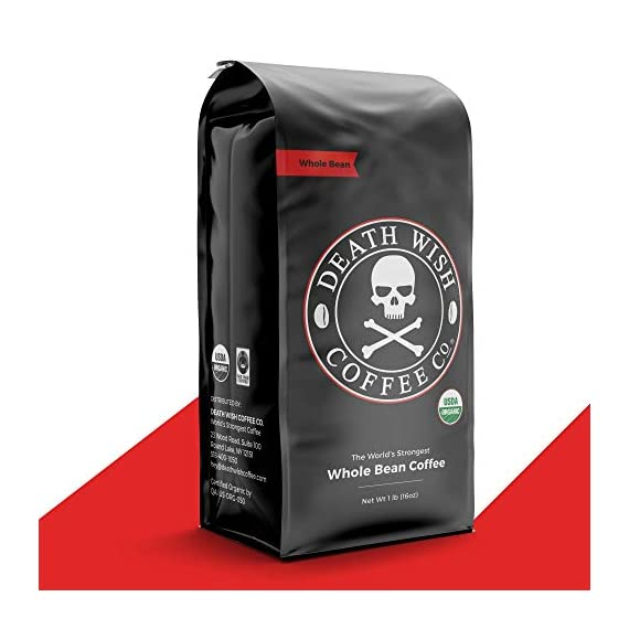 DEATH WISH COFFEE Whole Bean Coffee [16 oz.] The World's Strongest, USDA Certified Organic, Fair Trade, Arabica and… 1 WORLD'S STRONGEST COFFEE: Our whole coffee beans will transform your basic cup of joe into a delicious, bold, and intense beverage that will revolutionize your morning. QUALITY BREW: Hands down, the best whole coffee beans in the world. One sip of our best-selling coffee will have you saying goodbye to store-bought forever. Enjoy the highest quality energy and artisanal flavor with every sip of Death Wish Coffee. BOLD FLAVOR: Immerse yourself in a smooth, subtle, never bitter cherry and chocolate flavor profile. We've carefully selected premium Arabica and Robusta whole coffee beans from around the world to deliver you a dark roast coffee beverage with a bold taste you'll instantly fall in love with.