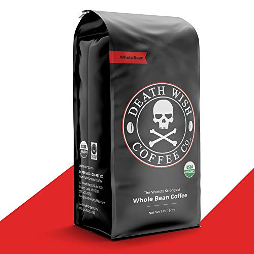 Death Wish Whole Bean Coffee [16 oz.] The World's Strongest, USDA Certified Organic, Fair Trade