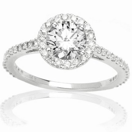 1 Carat Round Cut/Shape Classic Yet Unique Halo Style Pave Set Diamond Engagement Ring 14K White Gold with a 0.57 Carat (I-J Color, SI2-I1 Clarity center stones Center Stones)