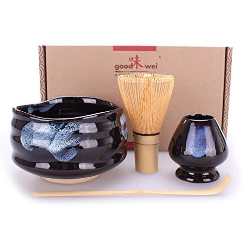 Goodwei Japanisches Matcha Komplett-Set mit hochwertiger Teeschale (Burashi, 80)
