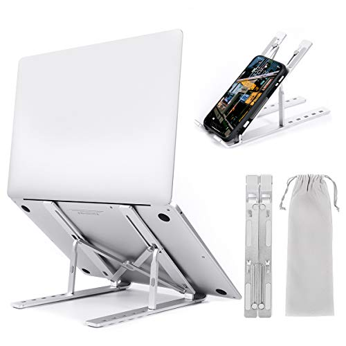 """Dribotway Laptop Stand Aluminum Alloy Portable Laptop Stand Computer Holder Ergonomic Laptop Stand for 9-15.6"""" Laptops Tablet Lightweight & Adjustable (Silver)"""