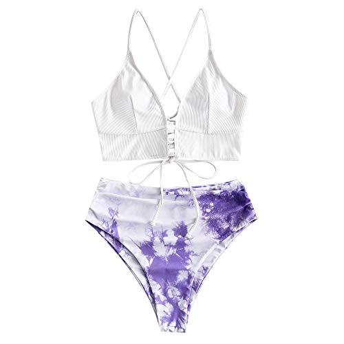 ZAFUL Women's Plunging Neck Floral Surplice High Cut Two Piece Tankini Swimsuit (X-2-Mauve, M)