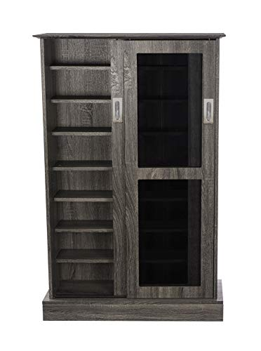 Atlantic Driffield Adjustable Media Cabinet - Tempered Glass Pane Styled Sliding Doors; Store 216 Blu-Rays, 192 DVDs or 355 CDs; 6 Adjustable, 1 Fixed Shelves; 49 X 32 X 9.5 inches; PN38408084