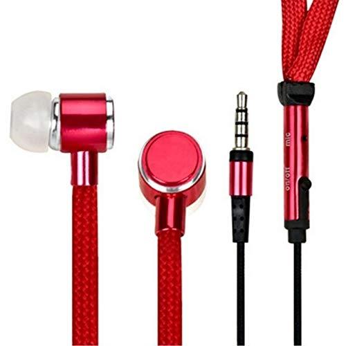 ZJDY Schnürsenkel Kopfhörer Schnur Metall In-Ear 3,5 mm Klinke-Kopfhörer Bass-Kopfhörer-Stereo Sport-Kopfhörer mit Mikrofon (Color : Red)