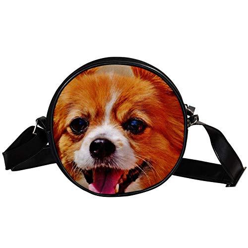 Bennigiry Cute Dog Chihuahua Damen Rund Umhängetasche Top Handtasche