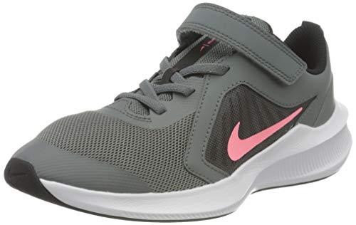 Nike Downshifter 10 (PSV), Running Shoe, Smoke Grey/Sunset Pulse-Black-White, 35 EU