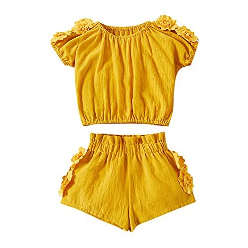 Huihong Mädchen Kleidung Set Kleinkind Baby Kinder Kind Einfarbige kurze Ärmel 3D Blumentop Shorts Set Babykleidung Outfits (0-3M, Gold)