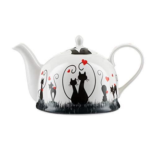 """Jameson & Tailor Iglu-Teekanne Kaffeekanne""""liebe Katzen"""" Brillant-Porzellan 1200 ml Füllmenge spülmaschinen- und mikrowellenfest"""