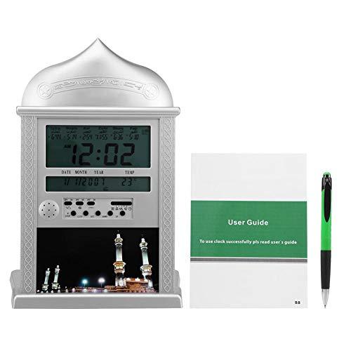 FTVOGUE Prayer Clock Muslim Islamic Praying Azan Athan Wall LED Clock Silver with Pen - Ramadan Products Gift