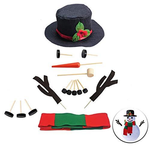 winemana Snowman Decorating Kit Snowman Dressing Making Kit for Winter Christmas Outdoor Snowman Decoration, 16 Pcs