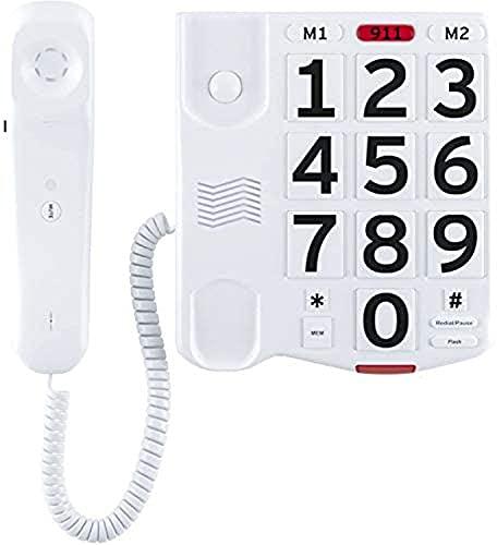 Hjyuik Big Button Teléfonos Fijos, Teléfono De Escritorio con Cable De Línea Única Amplificada con Botones Grandes Y Fáciles De Leer Y Un Timbre Extra Fuerte