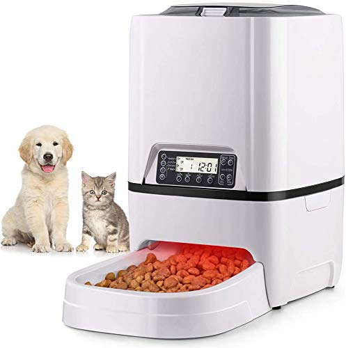 HWZQHJY 6L Pet Feeder Snackautomaten for Katzen und Hunde mit Zeit und Meal Größe Programmierbare, LCD-Anzeige und Meal Call Recorder bis zu 4 Mahlzeiten pro Tag