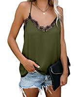 Arainlo Women's V-Neck Lace Stain Solid Spaghetti Strap Tanks Fashion 2020 Sleeveless Casual Cami Tops X-Large Green