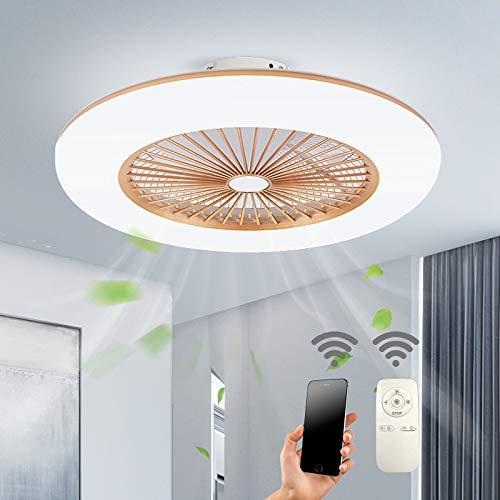 Deckenventilator Mit Beleuchtung LED-Licht Einstellbare Windgeschwindigkeit Dimmbar Mit Fernbedienung 32W Moderne LED-Deckenleuchte Für Schlafzimmer Wohnzimmer Esszimmer,Gold