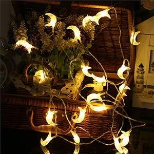 1.5M / 3M / 6M Cadena de Luces LED con Forma de Luna Iluminación navideña Guirnalda de Hadas para árbol de Navidad Decoración de Ramadán para Fiesta de Boda - Blanco cálido, 6M 40leds