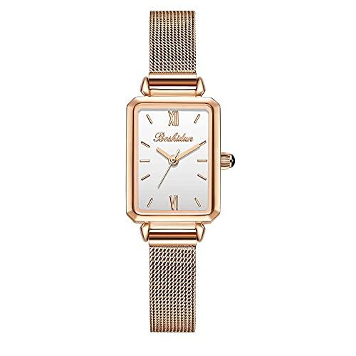 WWANG Reloj Cuadrado para Mujer con Banda de Malla de Acero Inoxidable, Cuero Genuino, Elegante, Resistente al Agua, rectángulo, 27 mm, Relojes para Mujer