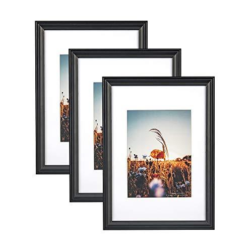 Home&Me 100{9e05db9f3dbc4879d1e0847fbd94211f1a13eb02b5ea188cd3eda90e76d0877f} Echtholz Bilderrahmen Modern Schwarz DIN A4 3er Set -mit Passepartout 15x20cm, Fotorahmen mit Echtglas für Zertifikat zum aufhängen und aufstellen