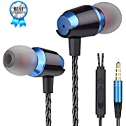 Earbuds Headphones with Microphone Mic Noise Isolating Earphone Ear Buds Heavy Deep Bass Wired Earphones Ear Buds, in-Ear Headphones Compatible Phone Samsung Android Smart Phone Tablet Laptop