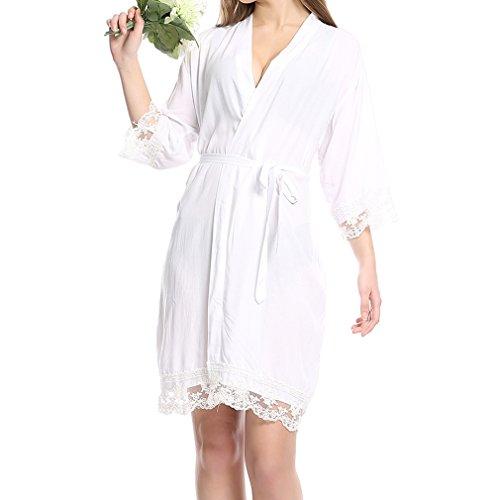 Juleya Donne Accappatoi Camicia da Notte Solid Party New Cotton Soft Bride Pigiama Ragazze Wedding Party Kimono White S