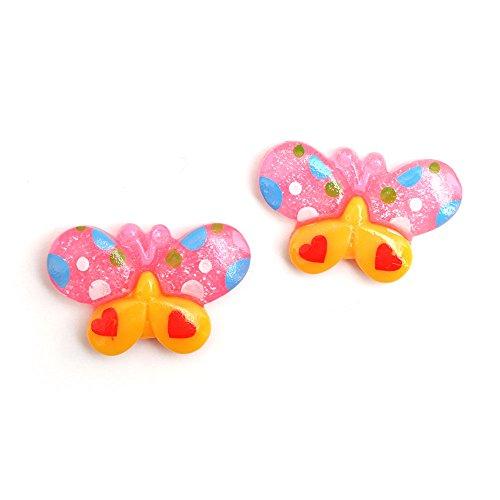 Idin Orecchini a clip–Velour farfalla con le ali gialle e rosa (ca. 21X 14mm)