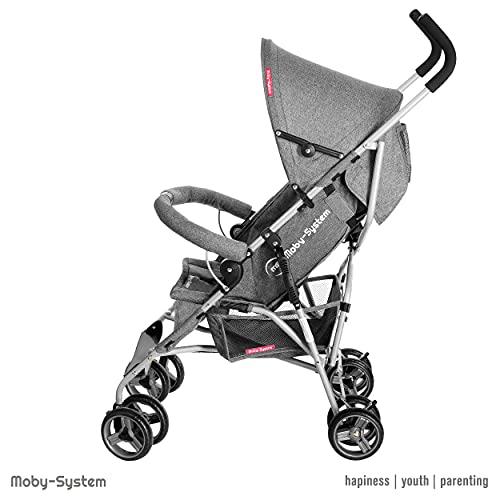 Moby-System, Kinderwagen, Superleichter & Klein, bis 15 kg, Verstellbare Rückenlehne, Doppelt, Schwenkbare Schaumstoffräder, Faltbare, mit Sonnenverdeck, Wagen ideal für einen Spaziergang, Grau