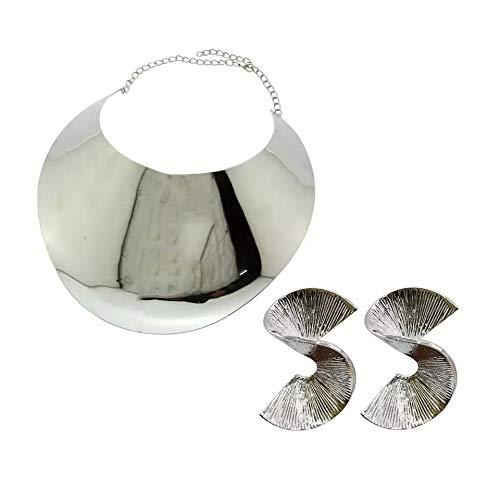 África babero pares gargantillas collares para las mujeres, de Metal Collar SUPER ELEGANTE Conjuntos de joyería métrico, Collar de joyería para mujer GEOMETRIC.(C.M.PENDIENTES PLATA)