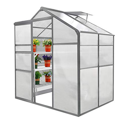 Greenhouse Polycarbonate, Clear, Aluminium Frame, Silver, Growhouse with Window & Sliding Door 6ft x 4ft