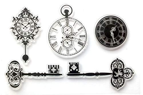 Boutique d'isacrea 5 Stempel aus Silikon, transparent, Motiv: alte Schlüssel, Taschenuhr