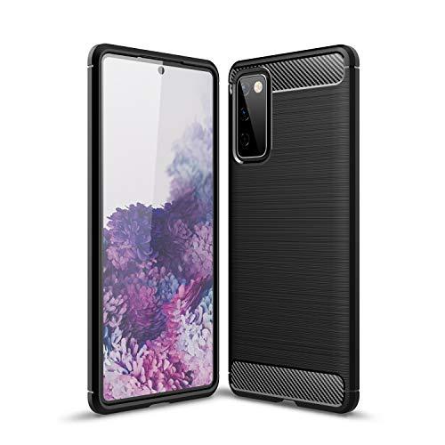 NEINEI Funda para Samsung Galaxy Xcover 5,Carcasa Silicona de Fibra de Carbono,Diseño Sensación Metálica,Ultradelgado TPU Outdoor Shockproof Case Cover-Negro
