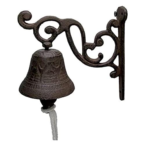 Timbre de puerta de flores Campana de cena Vintage de hierro fundido montado en la pared de metal campana decoración Accesorios para el hogar Bar