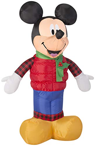 Inflatable Mickey Mouse in Christmas Outfit Outdoor Decorations