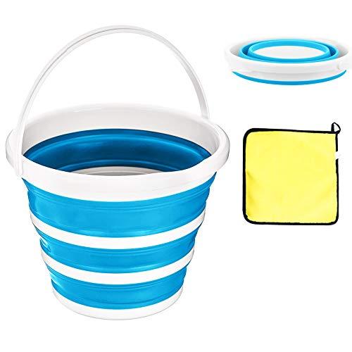 Secchio pieghevole salvaspazio da 10 litri, stabile (blu), in plastica di silicone con manico, per cucina, all'aperto, campeggio, escursionismo, e viene fornito con asciugamani facili da pulire.
