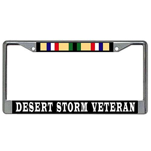 Desert Storm Veteran + Campaign Ribbon Metal License Plate Frame - Chrome