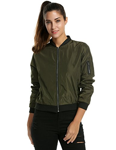 Zeagoo Womens Classic Quilted Jacket Short Bomber Jacket Coat, # Army Green, Large
