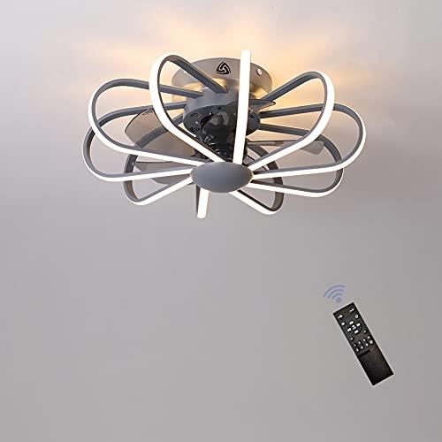 Ventilador de Techo LED con LUZ - Ventilador Súper Silencioso de 160W, 3 Temperaturas de Colores y 3 Velocidades del Viento Ajustables, Temporizador y Función de Inversión, Ø 60cm para Salón