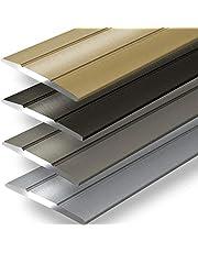 Overgangsprofiel Firm | afdekstrip voor parket, laminaat, PVC, kurk | C-vorm | vloerlijst van aluminium | voorgeboord of zelfklevend (breedte: 36 mm | lengte: 90 cm, brons | zelfklevend)