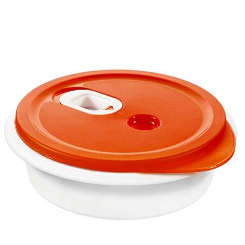 Rotho Micro Clever Plats à Micro-ondes 1L avec Couvercle et Valve, Plastique (PP) sans BPA, Rouge/Blanc, 1L (20,0 x 20,0 x 6,5 cm)